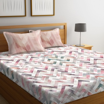 PORTICO Garden Of Eden Printed Cotton King Bed Linen-Set Of 3 Pcs.