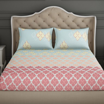 SPACES Essentials Printed Cotton Double Bedsheet with Pillow Covers - Set of 3 Pcs.