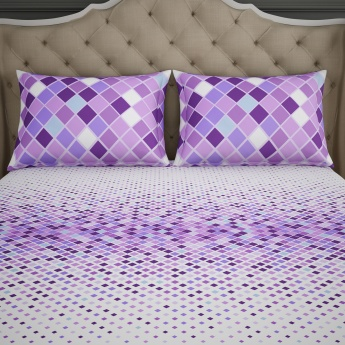 SPACES Essentials Printed Cotton Double Bedsheet-Set Of 3 Pcs.