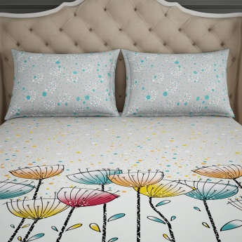 SPACES Printed Cotton Double Bedsheet with Pillow Covers - Set of 3 Pcs.