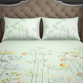 SPACES Essentials Printed Cotton Single Bedsheet with Pillow Cover-Set Of 2 Pcs.