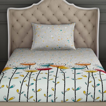 SPACES Essentials Printed Cotton Single Bedsheet with Pillow Cover - Set of 2 Pcs.
