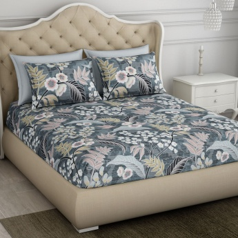 SPACES Floral Print Double Bed Sheets - Set of 3 Pcs.