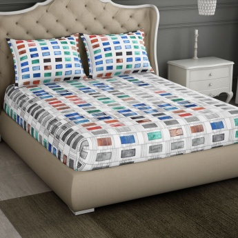 SPACES Occasions Printed Cotton Double Bedsheet-Set Of 3 Pcs.