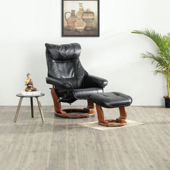 Silas Lounge Chair with Footrest Black